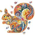 MUYEY Unique Animal Shaped Wooden Jigsaw Puzzles Best Gift for Adults and Children Mysterious Squirrel Jigsaw 100 Tablets 5.8x8.2 inches (A5 Paper)