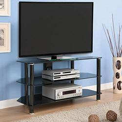 """Living Essentials Cairo 42"""" TV Stand, Black Glass TV Console Fits up to 42 inch Flat or Curved Screen TVs, 1-2-3 Easy Assembly(42 inch - Black)"""