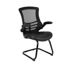 Flash Furniture Black Leather Mesh Sled Base Side Reception Chair with Flip Up Arms