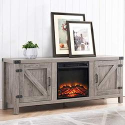 """CHADIOR Farmhouse Barn Door Stand and Electric Fireplace, Fit up to 65"""" Flat Screen TV with Storage Cabinet and Adjustable Shelves Entertainment Center for Living Room, Grey Wash"""