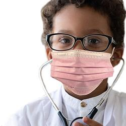 50 pcs of ASTM Level 3 Disposable Kids Face Mask - Made in USA - Certified by Eurofins & Nelson Labs | Designed for Children | For Girls and Boys, School, Outdoor, University (Flamingo Pink)