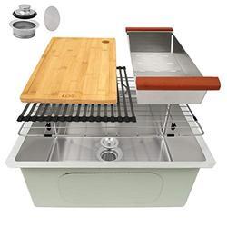 """LQS Kitchen Sinks, Stainless Steel Sink, Stainless Steel Undermount Kitchen Sink 23""""x 19"""", Workstation Ledge Kitchen Sinks, Undermount Small Bar and Prep Kitchen Sink, 16 Gauge Deep Single Sink Bowl"""