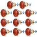 DOITOOL 10 Sets Cabinet Knobs with Screws Antique Style Flower Drawer Knob Pull Handle Used for Kitchen Dresser Door Cupboard Red