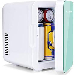 YITAMOTOR Mini Fridge 6 Liter/8 Can Compact Portable Personal Cooler and Warmer for Bedroom, Car, Office, Refrigerator for Skin Care Products, Breast Milk, Foods (Green)
