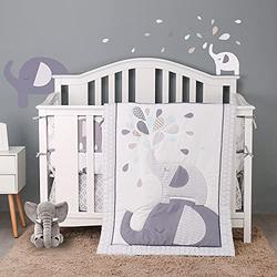 HUPO Jungle Elephant Crib Bedding Sets for Baby Boys and Girls,4 Piece Cot Bedding Set,Grey/White Crib Set,Unisex Nursey Bedding and Neutral Decoration