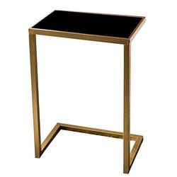 Jcnfa-Tables C Shaped End Table, Iron Independent Table, Golden Side Table, Modern End Table, Side Table Black Glass, Cafe/Tea, Dessert Shop (Color : Gold+Black, Size : 17.5112.4024.40in)
