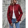 Coeur de Vague Women's Non-Denim Casual Jackets Red - Red Mandarin-Collar Button-Accent Jacket - Women