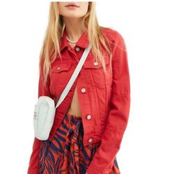 Free People Jackets & Coats   Free People Rumor Red Jean Jacket Xs Nwt   Color: Red   Size: Xs