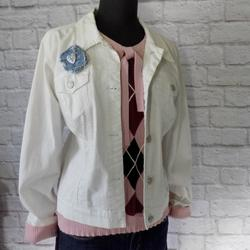 Nine West Jackets & Coats | 9 West American Vintage White Denim Jean Jacket | Color: Silver/White | Size: Xl