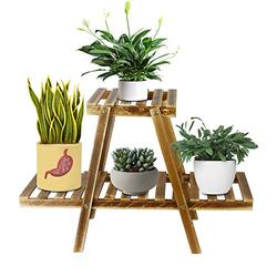 Creproly Small Wood Planter Stand 2 Tier Wood Indoor Planter Stand 4 Pots Planter Flower Pots Holder Rack Indoor Outdoor for Garden Balcony Office (Carbonized Color)