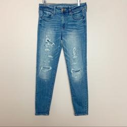 American Eagle Outfitters Jeans | American Eagle Distressed Jegging Denim Jeans 8 | Color: Blue | Size: 8