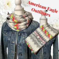 American Eagle Outfitters Accessories   American Eagle - Infinity Scarf Neon Colors Warm   Color: Pink/White   Size: Os