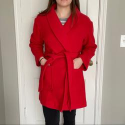 J. Crew Jackets & Coats   J Crew Belted Wrap Coat In Red Wool   Color: Red   Size: M