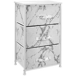 Sorbus Nightstand with 3 Drawers - Bedside Furniture & Night Stand End Table Dresser for Home, Bedroom Accessories, Office, College Dorm, Steel Frame, Wood Top (Marble White – White Frame)
