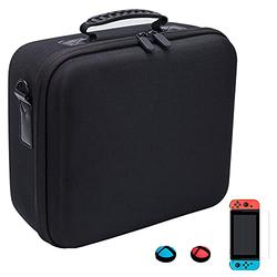 Carrying Storage Case for Nintendo Switch, Hard Protective Travel Case with Game Card Slots for Switch Console and Accessories, Including Screen Protector and Thumb Grip Caps, Arttodo (Black)