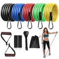 Suppeak Resistance Bands, 150 LB Exercise Bands 11 Pcs Elastic Band Set with Portable Carrying Bag Suitable for Indoor Outdoor Home Exercise
