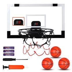 "Basketball Hoop Indoor, 17""x13"" Wall Mounted Basketball Hoop Set, Basketball Set Over Door with 3 Balls & Electronic Scoreboard, Mini Basketball Hoop for Kids & Adults, Basketball Gifts for Teens"