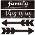 Jetec 4 Pieces This is Us Rustic Print Wooden Signs Wooden Family Signs Family Wooden Hanging Sign Decorations for Home Bedroom Living Room Kitchen Laundry, 15 x 4 x 0.2 Inch (Coffee)