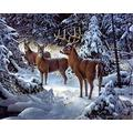 5D DIY Diamond Painting Rhinestone Pictures of Crystals Embroidery Kits Arts, Crafts & Sewing 5D Diamond Painting Deers Elks in Snow Forest 16x20 Inch
