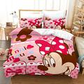 Supstar Minnie Mouse Bedding Sets Full Toddler Duvet Cover for Girls Bed Set Kids Floral Smile Minnie Pattern Soft Microfiber White Background 3Piece (1Duvet Cover,2Pillowcases) M3, Pink