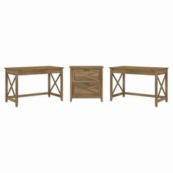 Bush Furniture Key West 2 Person Desk Set with Lateral File Cabinet in Reclaimed Pine - Bush Furniture KWS047RCP