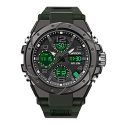 Military Watches for Men Outdoor Sports Digital Watch Tactical Army Wristwatch Analog Digital LED 50M Waterproof Multifunction Casual Dual Display 12H/24H Stopwatch Calendar Wrist Watch (Green Black)