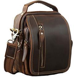 Small Leather Messenger Bag for Men, Full Grain Leather Flap Over Zipper Waist Bag, Gift for Men