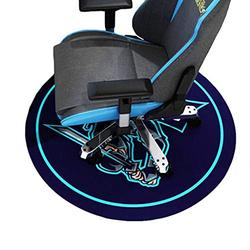 HYLFF Cartoon Swivel Chair Mat for Hardwood Floor, Round Floor Mats for Computer Desk Gaming Chair, Anime Pattern Anti-Slip Floor Protector,Blue,100cm