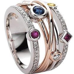 925 Sterling Silver Shiny Full Diamond Ring Sapphire Ruby Gemstone Ring Cubic Zirconia Rings CZ Diamond Multi Row Ring Eternity Engagement Wedding Band Ring for Women TZ.50 (US Code 7)