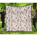 Scottish Thistle Quilt - Vintage Flowers Pattern Quilt - Scotland Quilt King Size - All Season Quilt, Cotton Quilt King Queen Twin Throw Size - Best Gifts for Mom Dad On Thanksgiving, Christmas