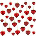 Valentine's Day Heart Ornaments, 3 Heart Baubles Heart Shaped Christmas Tree Baubles Heart Hanging Decorations for Valentine's Day Wedding Anniversary, 2 Sizes (Red, 30)