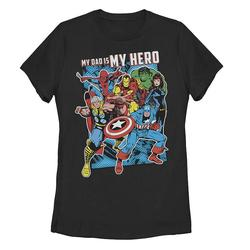 Juniors' Marvel Superheroes My Dad Is My Hero Father's Day Tee, Girl's, Size: XL, Black