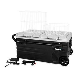 Camco 51522 CAM-950 Portable Refrigerator, AC 110V/DC 12V Compact Fridge/Freezer with Dual Zone Cooling, 95-Liter - Keeps Food and Drinks Cold While On-the-Go - Ideal for Road Trips, RVing, Camping, B