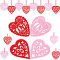 Boao 40 Pieces Valentine's Day Felt Heart Ornaments Heart Hanging Decorations Heart Shaped Cutouts Tree Embellishments with Red Rope for Wedding Party Valentines Day Tree Ornaments, Red and Pink