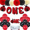 Ladybug 1st Birthday Decorations Ladybird One Year Old Birthday Banner Ladybeetle Cake Topper Black Red Latex Balloon Pom Pom Flowers for Ladybug Theme First Bday Party Supplies