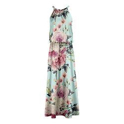 Lily Women's Maxi Dresses MNT - Mint & Pink Floral Sleeveless Blouson Maxi Dress - Women & Plus