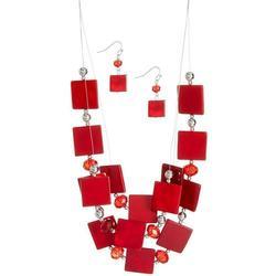 Bay Studio Square Bead Illusion Necklace & Earring Set