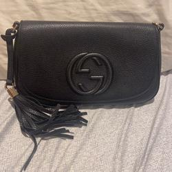 Gucci Bags | Gucci Leather Sling Bag Silver Chain | Color: Black | Size: Os