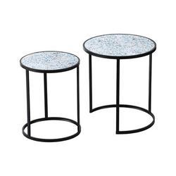 Latitude Run® Garna Frame Nesting Tables Wood in Black/Blue/Brown, Size 22.0 H x 19.7 W x 19.7 D in | Wayfair 6664B2EEEF3C44C4B54C632BBA40F3B7