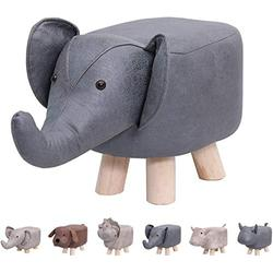 Animal Footstools, Ottomans Padded Cushion Footstool Pouffe Stool Rest Seat Sofa Chair Kids Learning Stool Elephant Bench Shoes Children Cartoon Stool Solid Wood Stool (Blue Elephant)