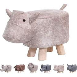 Animal Footstools, Ottomans Padded Cushion Footstool Pouffe Stool Rest Seat Sofa Chair Kids Learning Stool Elephant Bench Shoes Children Cartoon Stool Solid Wood Stool (Grey Cow)