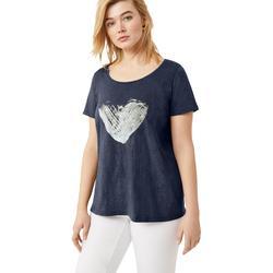 Plus Size Women's Love Ellos Tee by ellos in Smoky Blue Heart (Size 1X)