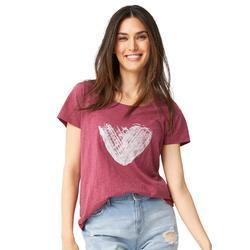 Plus Size Women's Love Ellos Tee by ellos in Burgundy Rose Heart (Size S)