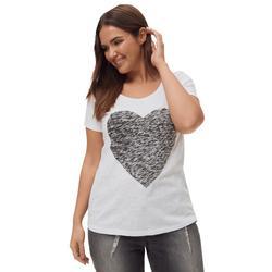 Plus Size Women's Love Ellos Tee by ellos in White Heart (Size 1X)