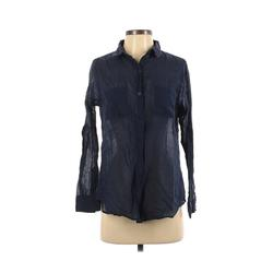 Cotton On Long Sleeve Button Down Shirt: Blue Solid Tops - Size Medium