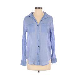 Cotton On Long Sleeve Button Down Shirt: Blue Solid Tops - Size Small
