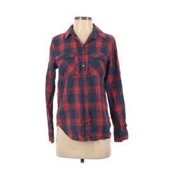 Cotton On Long Sleeve Button Down Shirt: Blue Plaid Tops - Size X-Small