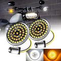 Front Motorcycle LED Turn Signals for Harley Davidson with Bright White Running Lights - 1157 LED - Motorcycle LED Lights - Motorcycle Turn Signal Lights