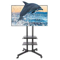 Letra Steel Mobile TV Cart for Plasma LCD LED Flat Screen Sizes 32 to 65 Inches 13 Degree Swivel Adjustable Height TV Stand with Storage Tray Rolling Trolley Wheels and Slip-Resistant Brakes for Home