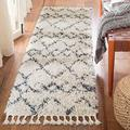 "SAFAVIEH Pro Luxe Shag Collection PLX434A Moroccan Boho Tassel Non-Shedding Living Room Bedroom Dining Room Entryway Plush 2.4-inch Thick Runner, 2'6"" x 10', Cream / Blue"